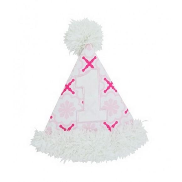 RuffleButts Καπέλο για τα Πρώτα Γενέθλια Άσπρο/Ροζ