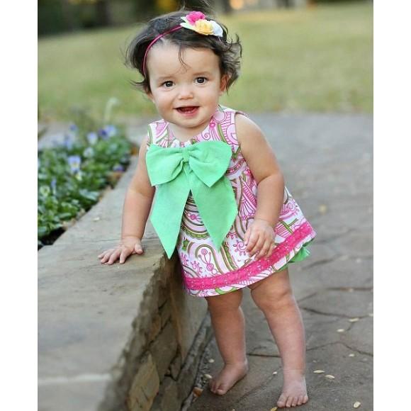 RuffleButts Παιδικό Top Μπλουζάκι με Φιόγκο, 6-12 μηνών