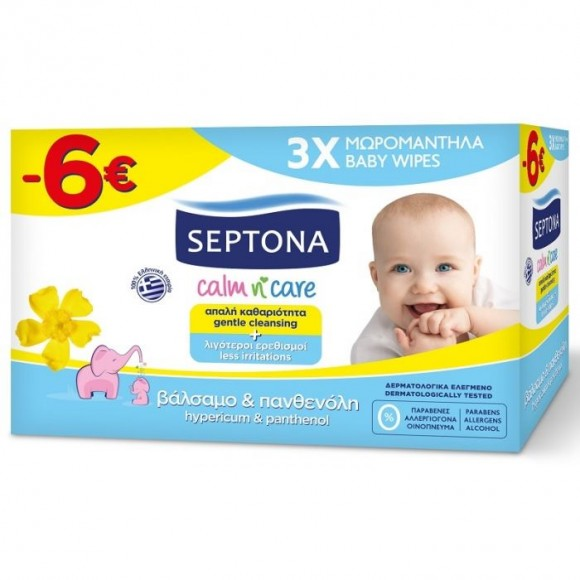 Septona Μωρομάντηλα Calm n' Care Βάλσαμο & Πανθενόλη (3x57τμχ) -6€ Φθηνότερα