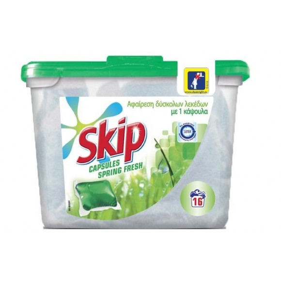 Skip Απορρυπαντικό Πλυντηρίου Κάψουλες Spring Fresh 16τμχ