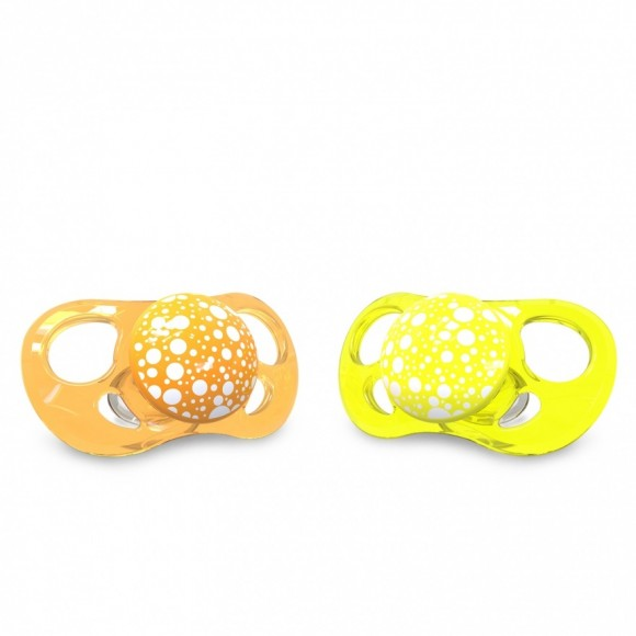 Twistshake Πιπίλα Σιλικόνης χωρίς BPA 6+μηνών 2τμχ Πορτοκαλί Κίτρινη