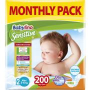 Πάνες Babylino Sensitive No2 (3-6Kg) Monthly Pack 200τμχ