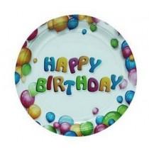 Πιάτα Χάρτινα 23εκ Happy Birthday 6τμχ