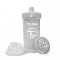 Twistshake Κύπελλο Kid Cup 360ml 12+μηνών Pastel Grey με Μίξερ Φρούτων