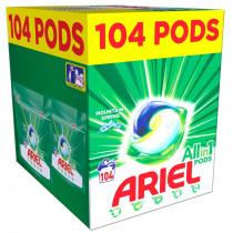 Ariel Απορρυπαντικό Κάψουλες Υπερσυμπυκνωμένες Pods All in One Mountain Spring 104τμχ