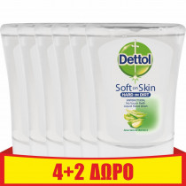 Dettol Ανταλλακτικό Υγρό Κρεμοσάπουνο Συσκευής No-touch με Aloe Vera 6x250ml