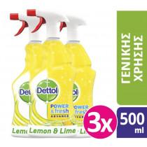 Dettol Αντιβακτηριδιακό Καθαριστικό Spray Λεμόνι & Λαϊμ 3x500ml