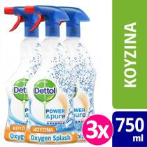 Dettol Πολυκαθαριστικό Spray Κουζίνας Oxygen Splash 3x500ml+250ml ΔΩΡΟ