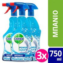 Dettol Πολυκαθαριστικό Spray Μπάνιου Mountain Spring 3x500ml+250ml ΔΩΡΟ