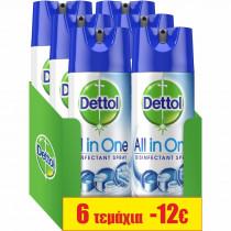 Dettol Απολυμαντικό Spray Crisp Linen 6x400ml