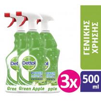 Dettol Spray Αντιβακτηριδιακό Πράσινο Μήλο 3x500ml