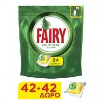 Fairy All in One Original Λεμόνι Κάψουλες Πλυντηρίου Πιάτων (42+42τμχ ΔΩΡΟ)