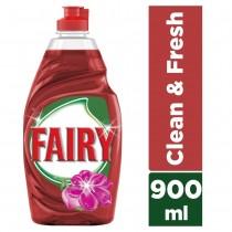 Fairy Υγρό Πιάτων Clean & Fresh Κόκκινα Μούρα 900ml