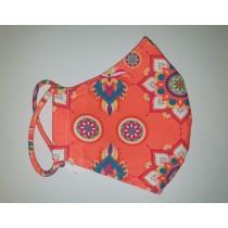 Fashy Υφασμάτινη Μάσκα Χρωματιστή Ενηλίκων (5811) - Orange Flowers