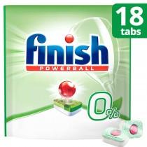 Finish Απορρυπαντικό Πλυντηρίου Πιάτων σε Ταμπλέτες 0% 18τμχ