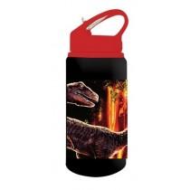 Jurassic World Παγούρι Αλουμινίου με Καλαμάκι 500ml Μαύρο-Κόκκινο