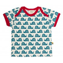 Loud+Proud Κοντομάνικο Μπλουζάκι από Οργανικό Βαμβάκι Μπλε Σαλιγκάρια 6-12 μηνών