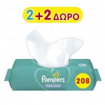 Μωρομάντηλα Pampers Fresh 208τμχ 2+2 Δώρο (4x52τμχ)
