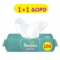 Μωρομάντηλα Pampers Fresh Clean 104τμχ 1+1 Δώρο (2x52τμχ)