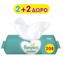 Μωρομάντηλα Pampers Sensitive 208τμχ 2+2 Δώρο (4x52τμχ)