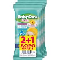 Μωρομάντηλα BabyCare Mini Pack Fresh Pure Water 36τμχ (3x12τμχ) 2+1 ΔΩΡΟ
