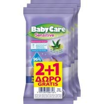 Μωρομάντηλα BabyCare Mini Pack Sensitive Pure Water 36τμχ (3x12τμχ) 2+1 ΔΩΡΟ