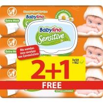 Μωρομάντηλα Babylino Sensitive με Καπάκι 162τμχ (3x54τμχ) 2+1 ΔΩΡΟ