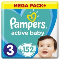 Πάνες Pampers Active Baby Νο 3 Mega Box 152τμχ (5-9kg)