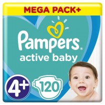 Πάνες Pampers Active Baby Νο 4+ Mega Box 120τμχ (9-16kg)
