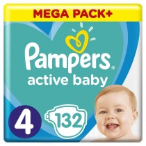 Πάνες Pampers Active Baby Νο 4 Mega Box 132τμχ (8-14kg)