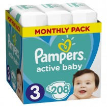 Πάνες Pampers Active Baby Νο 3 Monthly Box 208τμχ (5-9kg)