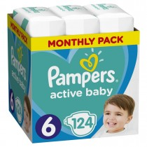 Πάνες Pampers Active Baby Νο 6 Monthly Box 124τμχ (15+kg)