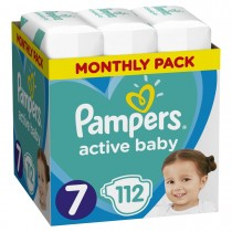Πάνες Pampers Active Baby Νο 7 Monthly Box 112τμχ (15+kg)