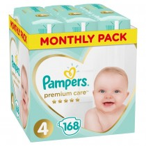 Πάνες Pampers Premium Care Νο 4 Monthly Box 168τμχ (9-14kg)