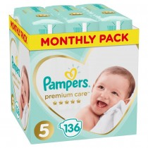 Πάνες Pampers Premium Care Νο 5 Monthly Box 136τμχ (11-16kg)