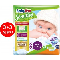 Πάνες Babylino Sensitive No3 (4-9Kg) Carry Pack 6x22τμχ (132τμχ)