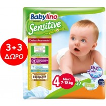 Πάνες Babylino Sensitive No4 (7-18Kg) Carry Pack 6x20τμχ (120τμχ)