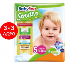 Πάνες Babylino Sensitive No5 (11-25Kg) Carry Pack 6x18τμχ (108τμχ)