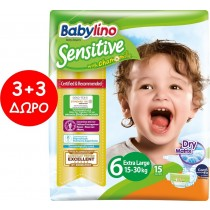 Πάνες Babylino Sensitive No6 (15-30Kg) Carry Pack 6x15τμχ (90τμχ)