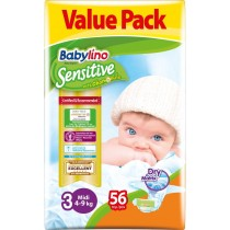 Πάνες Babylino Sensitive No3 (4-9Kg) Value Pack 56τμχ