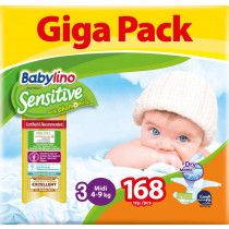 Πάνες Babylino Sensitive No3 (4-9Kg) Giga Pack 168τμχ