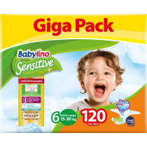 Πάνες Babylino Sensitive No6 (15-30Kg) Giga Pack 120τμχ