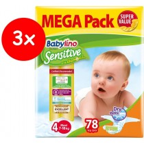 Πάνες Babylino Sensitive No4 (7-18Kg) Mega Pack 3x78τμχ