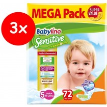 Πάνες Babylino Sensitive No5 (11-25Kg) Mega Pack 3x72τμχ