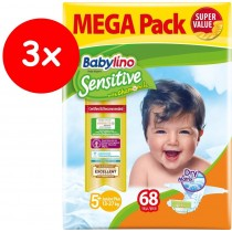Πάνες Babylino Sensitive No5+ (13-27Kg) Mega Pack 3x68τμχ