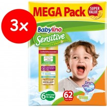 Πάνες Babylino Sensitive No6 (15-30Kg) Mega Pack 3x62τμχ