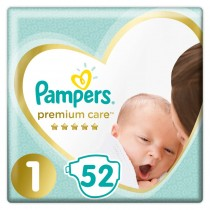 Πάνες Pampers Premium Care Νο 1 Value Pack 52τμχ (2-5kg)