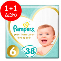 Πάνες Pampers Premium Care Νο 6 (13+kg) Jumbo Pack 38+38τμχ (46τμχ)