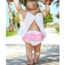 RuffleButts  Φουφούλα Λευκή-Ροζ, 3-6 μηνών