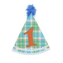 RuffleButts Καπέλο για τα Πρώτα Γενέθλια Μπλε/Πράσινο Καρό
